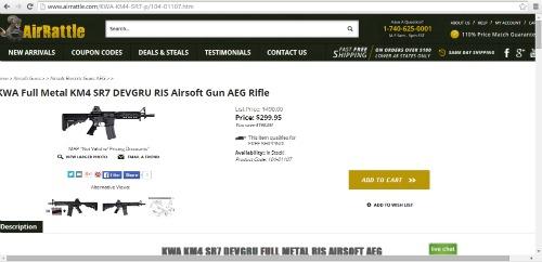 Screenshot of KWA SR7 on AirRattle.com  AirsoftWarrior.net