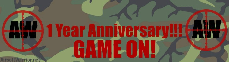 1 Year Anniversary: GAME ON! Post Banner | AirsoftWarrior.net
